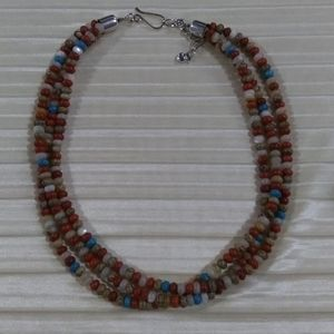 Jay King SS triple strand gemstone necklace